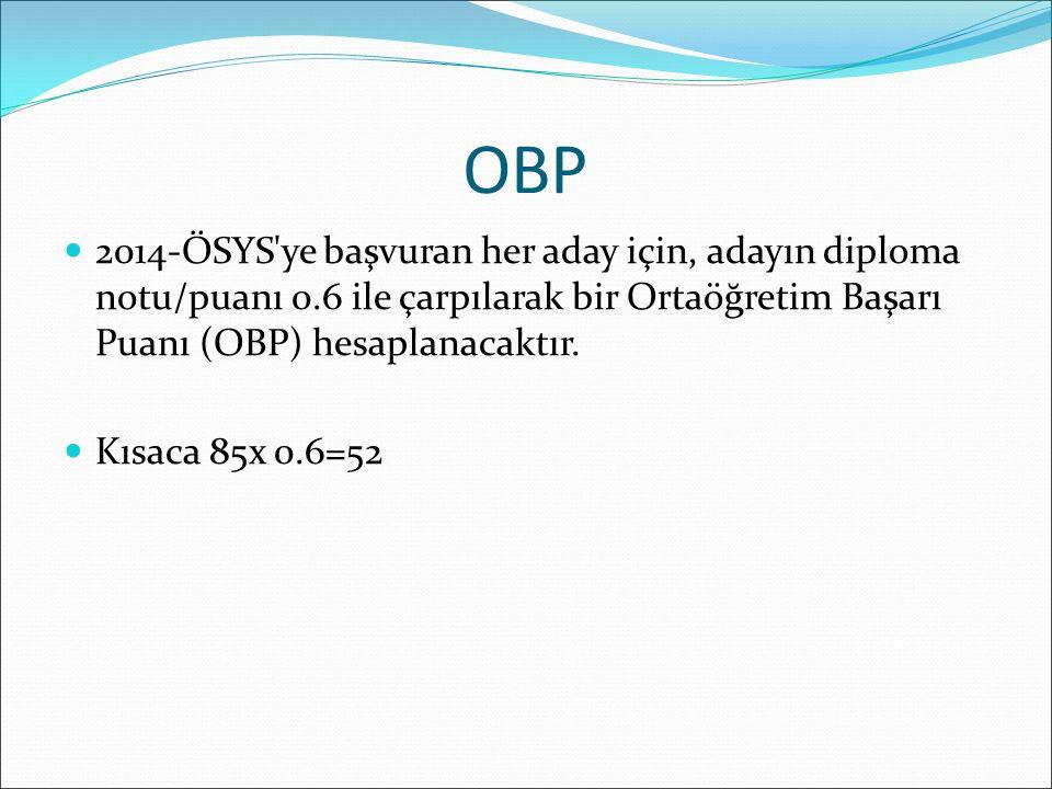 OBP 2014-ÖSYS ye başvuran her aday için, adayın diploma notu/puanı 0.6 ile çarpılarak bir Ortaöğretim Başarı Puanı (OBP) hesaplanacaktır.