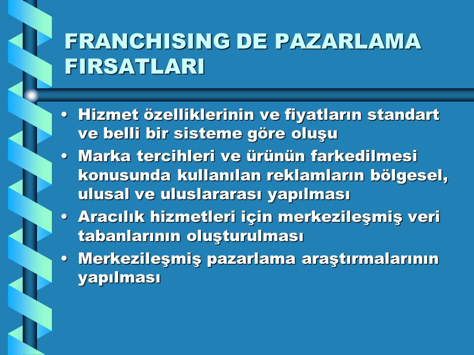 FRANCHISING DE PAZARLAMA FIRSATLARI