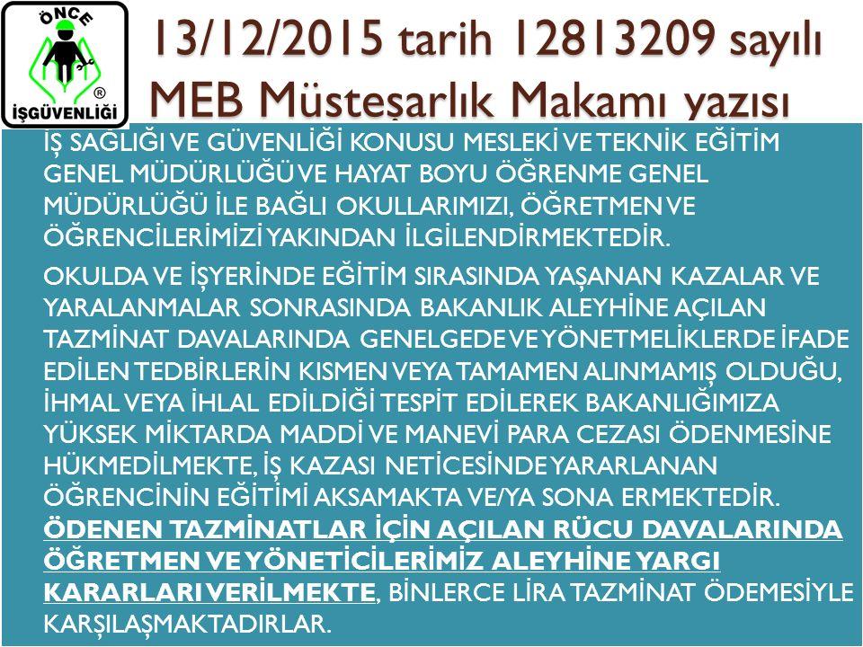 13/12/2015 tarih 12813209 sayılı MEB Müsteşarlık Makamı yazısı