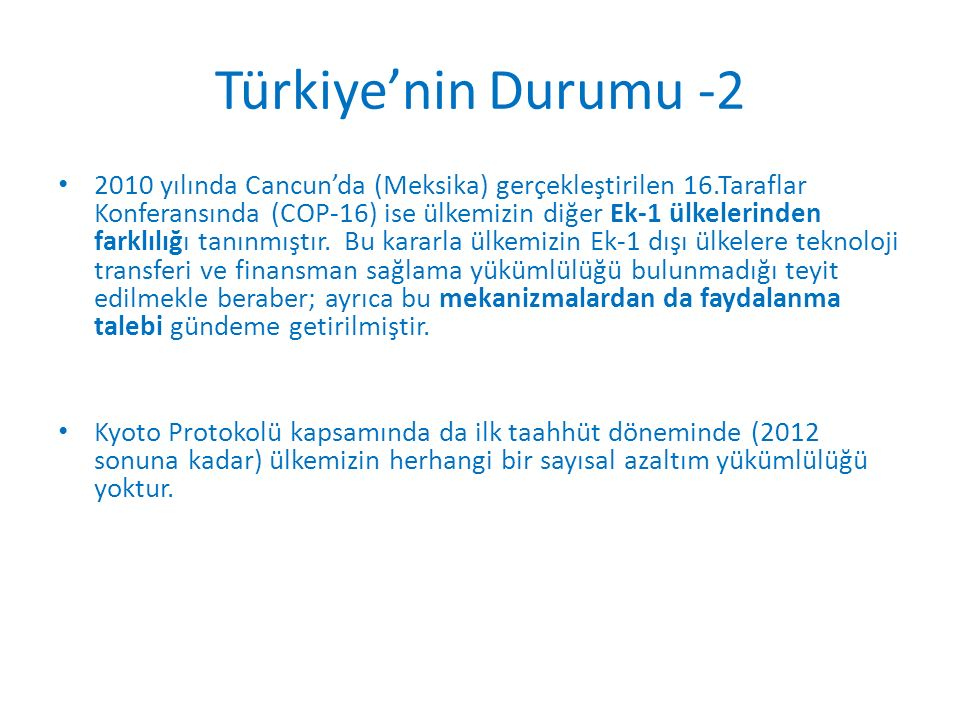 Türkiye'nin Durumu -2