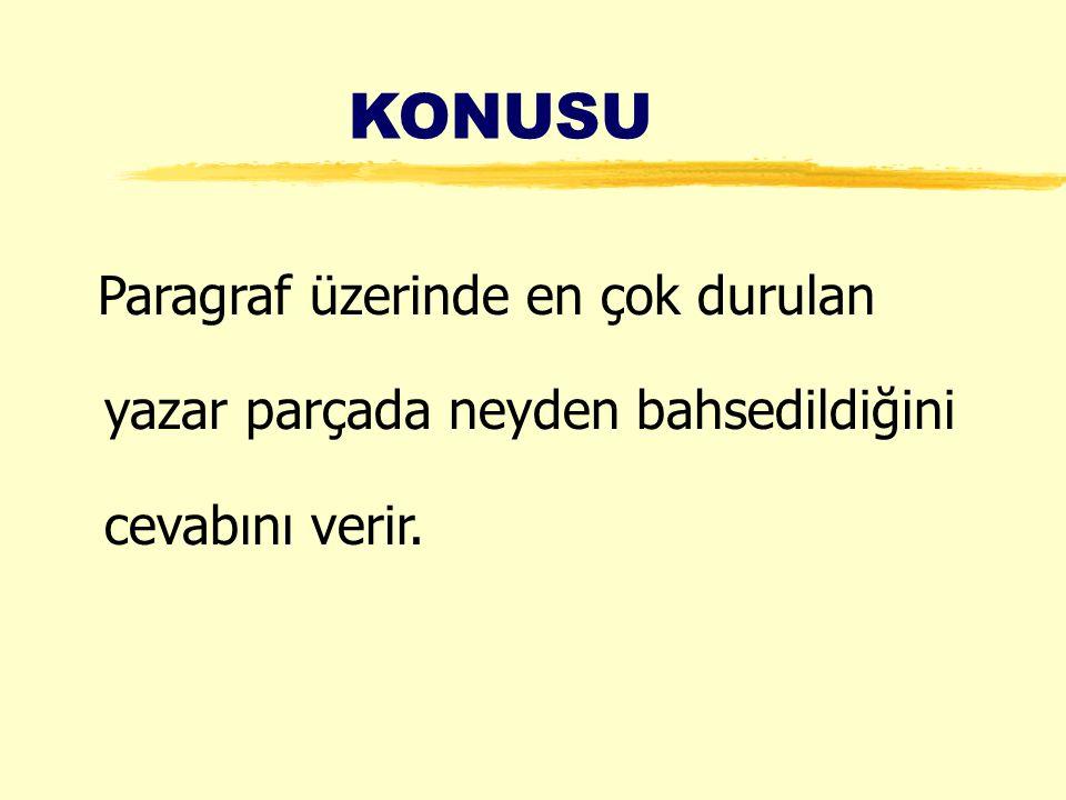KONUSU Paragraf üzerinde en çok durulan yazar parçada neyden bahsedildiğini cevabını verir.