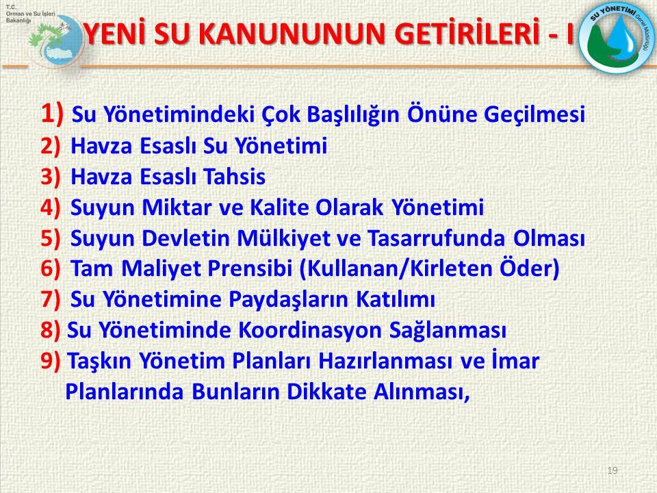 YENİ SU KANUNUNUN GETİRİLERİ - I