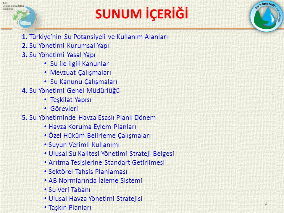 SUNUM İÇERİĞİ 1. Türkiye'nin Su Potansiyeli ve Kullanım Alanları