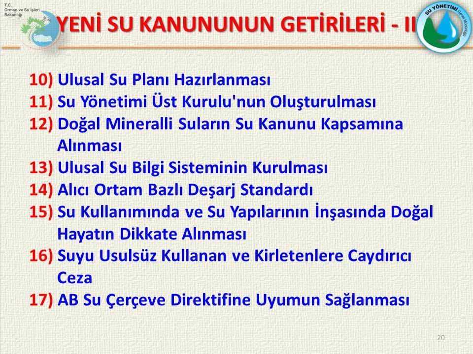 YENİ SU KANUNUNUN GETİRİLERİ - II