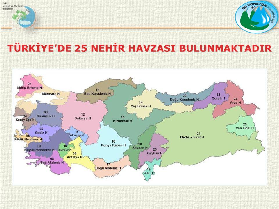 TÜRKİYE'DE 25 NEHİR HAVZASI BULUNMAKTADIR