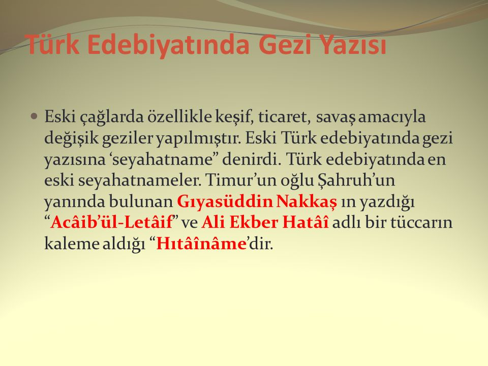 Türk Edebiyatında Gezi Yazısı
