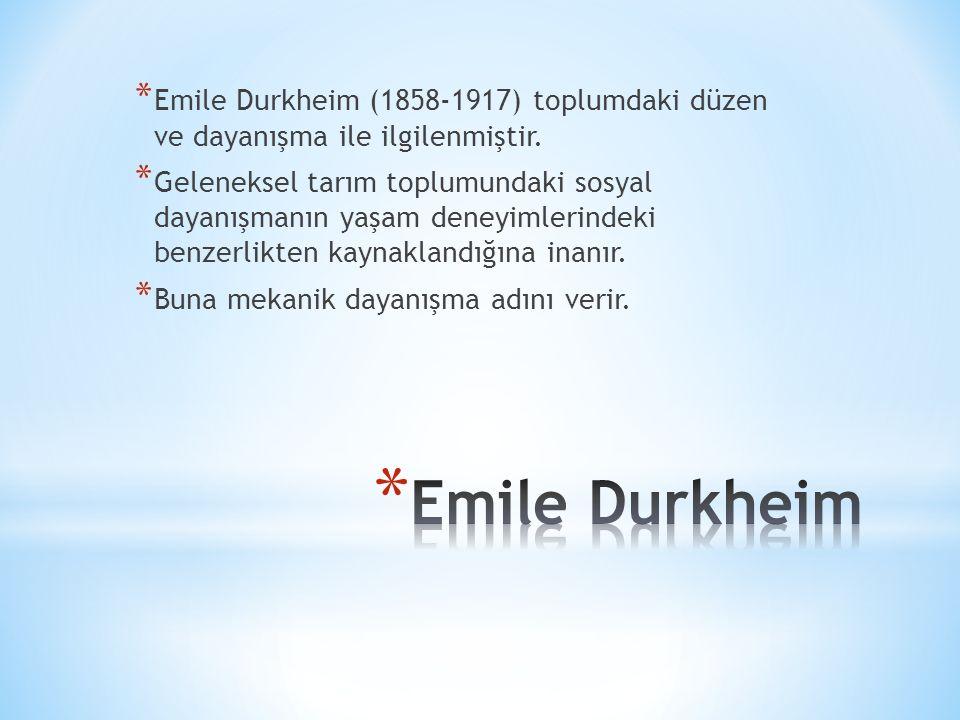 Emile Durkheim (1858-1917) toplumdaki düzen ve dayanışma ile ilgilenmiştir.