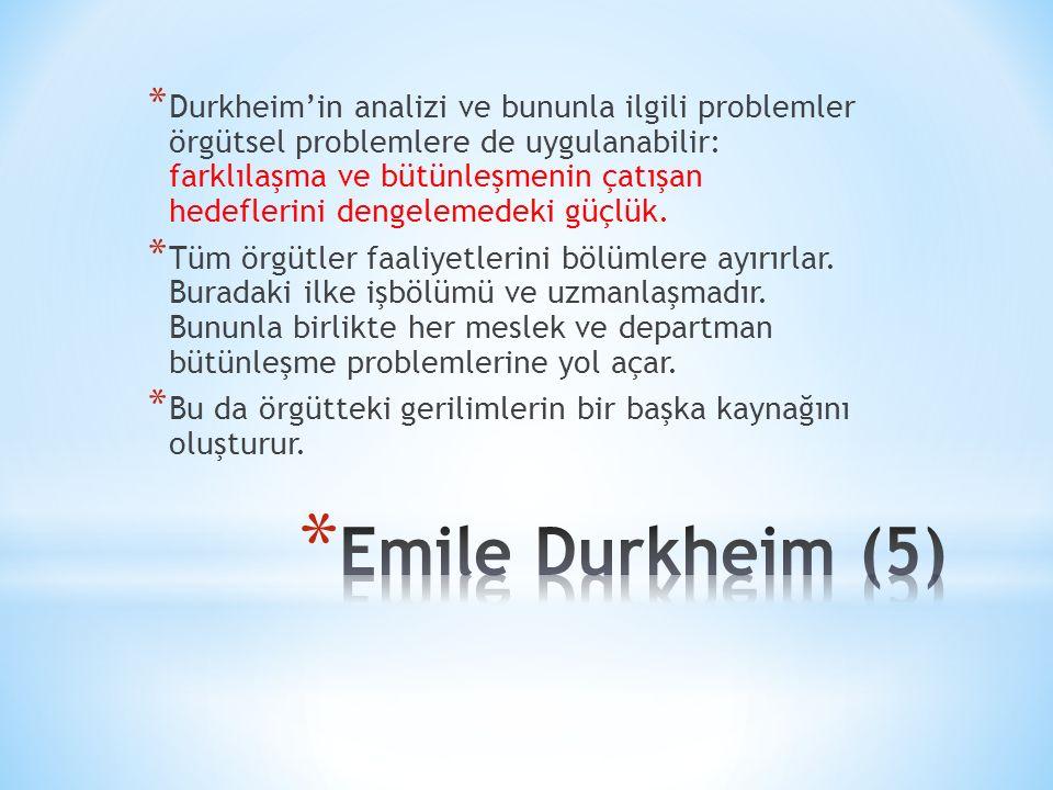 Durkheim'in analizi ve bununla ilgili problemler örgütsel problemlere de uygulanabilir: farklılaşma ve bütünleşmenin çatışan hedeflerini dengelemedeki güçlük.