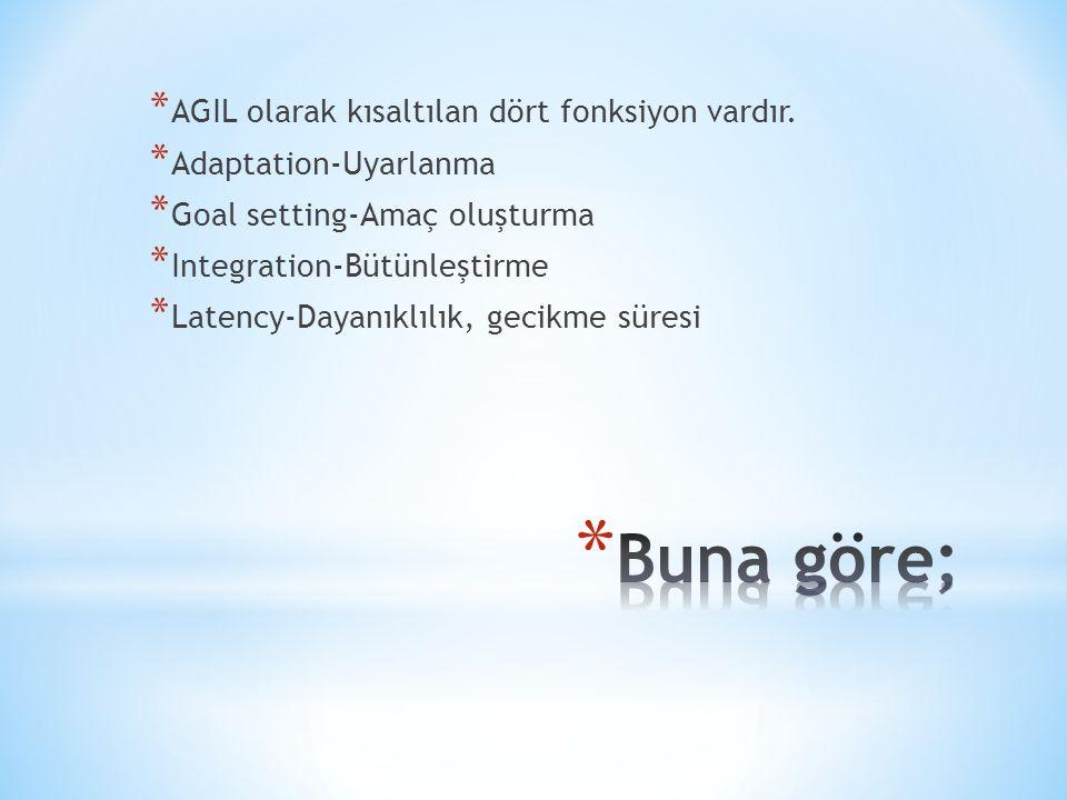 Buna göre; AGIL olarak kısaltılan dört fonksiyon vardır.