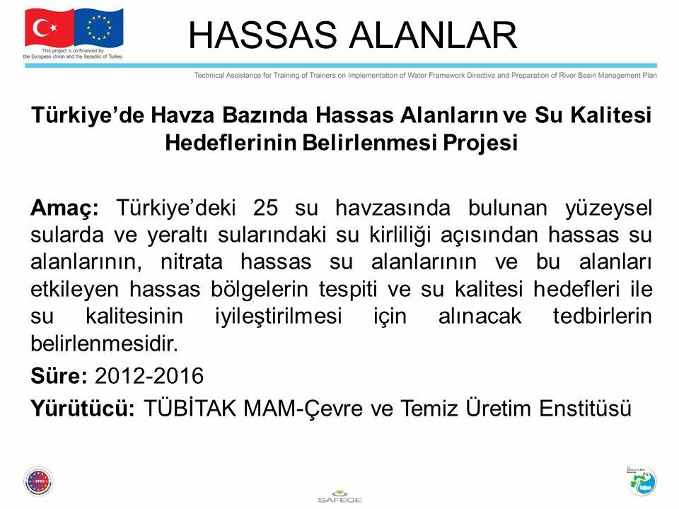 HASSAS ALANLAR Türkiye'de Havza Bazında Hassas Alanların ve Su Kalitesi Hedeflerinin Belirlenmesi Projesi.