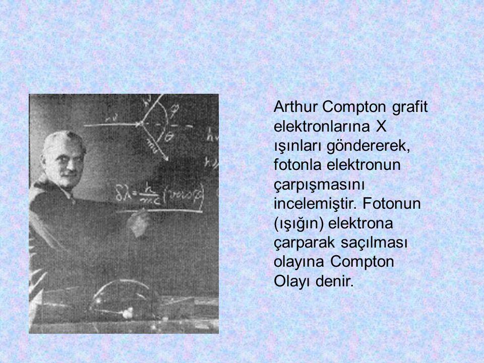 Arthur Compton grafit elektronlarına X ışınları göndererek, fotonla elektronun çarpışmasını incelemiştir.
