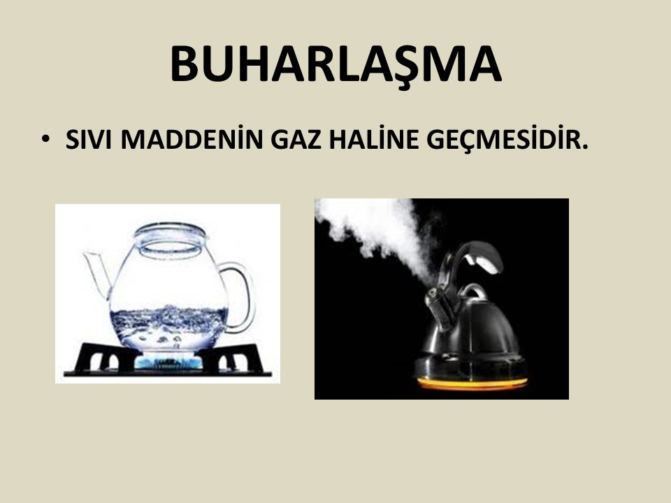 BUHARLAŞMA SIVI MADDENİN GAZ HALİNE GEÇMESİDİR.