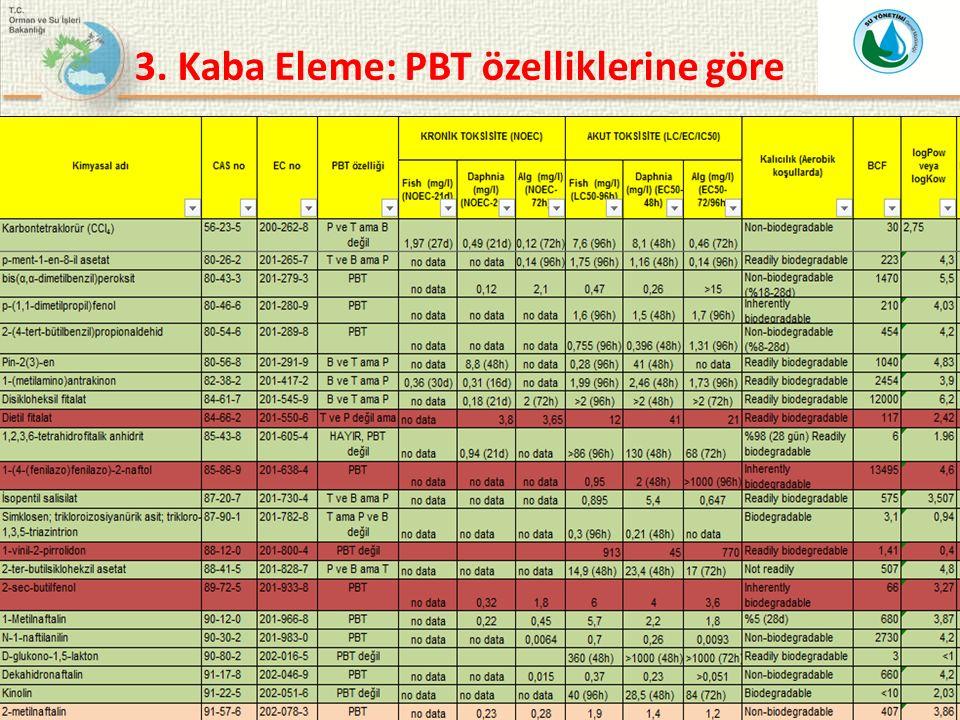 3. Kaba Eleme: PBT özelliklerine göre