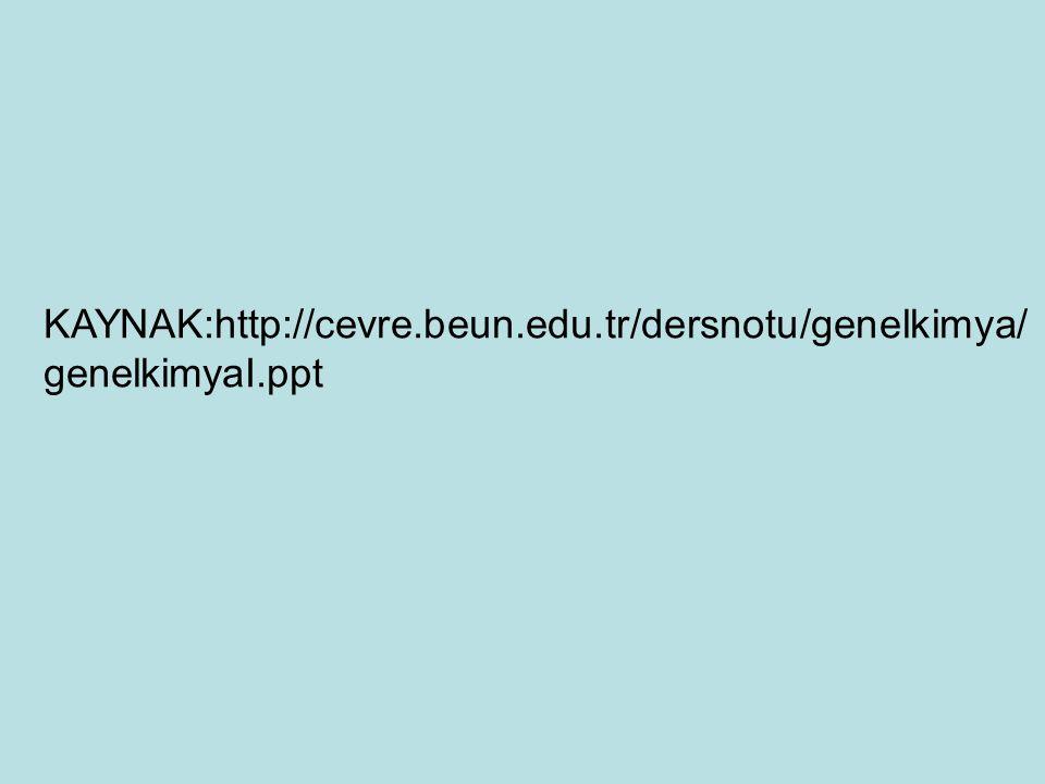 KAYNAK:http://cevre.beun.edu.tr/dersnotu/genelkimya/genelkimyaI.ppt