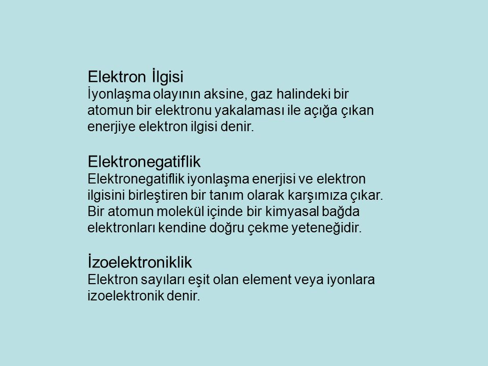 Elektron İlgisi Elektronegatiflik İzoelektroniklik