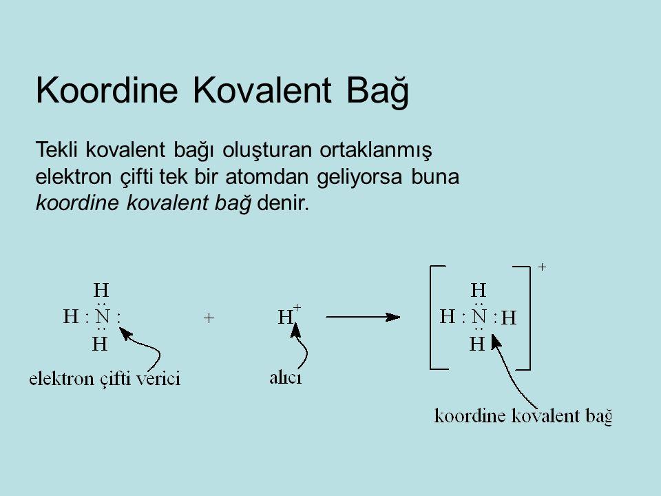 Koordine Kovalent Bağ Tekli kovalent bağı oluşturan ortaklanmış
