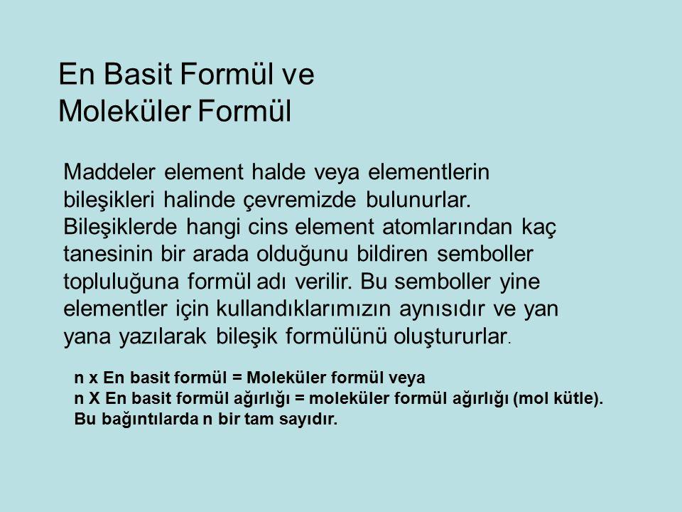 En Basit Formül ve Moleküler Formül