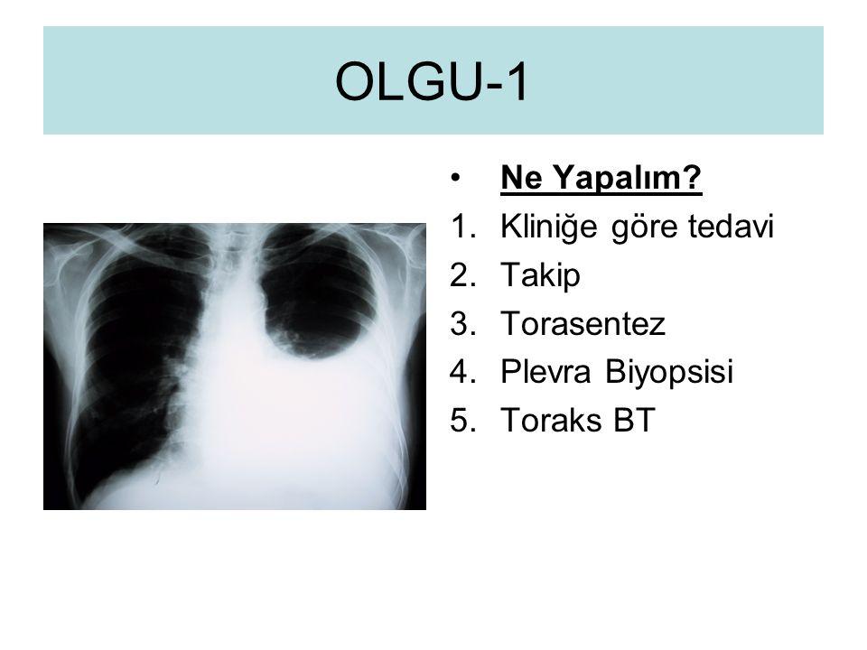 OLGU-1 Ne Yapalım Kliniğe göre tedavi Takip Torasentez