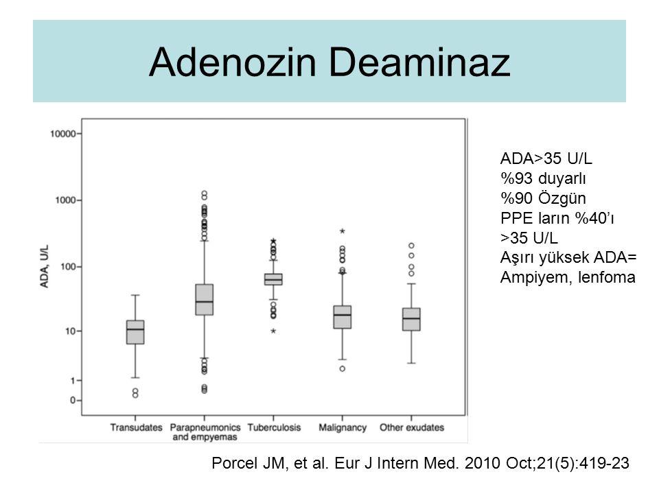 Adenozin Deaminaz ADA>35 U/L %93 duyarlı %90 Özgün PPE ların %40'ı