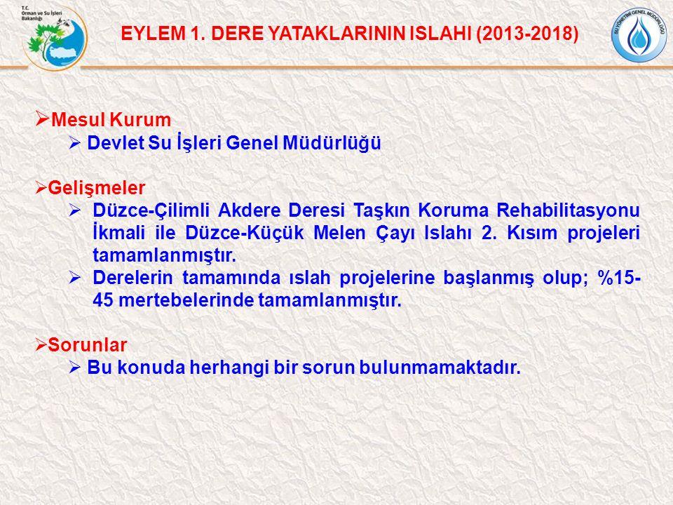 Mesul Kurum EYLEM 1. DERE YATAKLARININ ISLAHI (2013-2018)