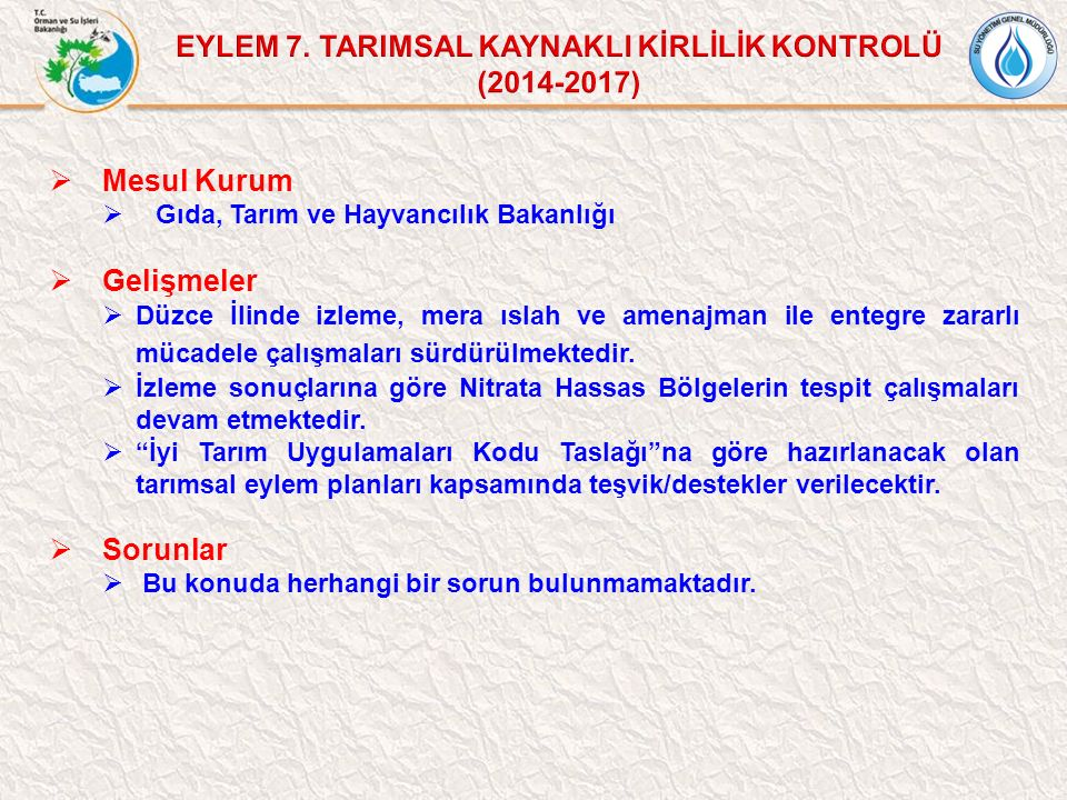 EYLEM 7. TARIMSAL KAYNAKLI KİRLİLİK KONTROLÜ