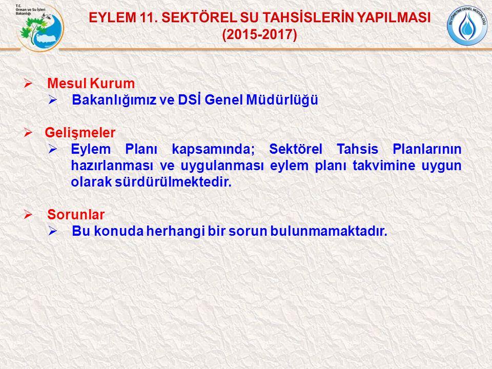 EYLEM 11. SEKTÖREL SU TAHSİSLERİN YAPILMASI