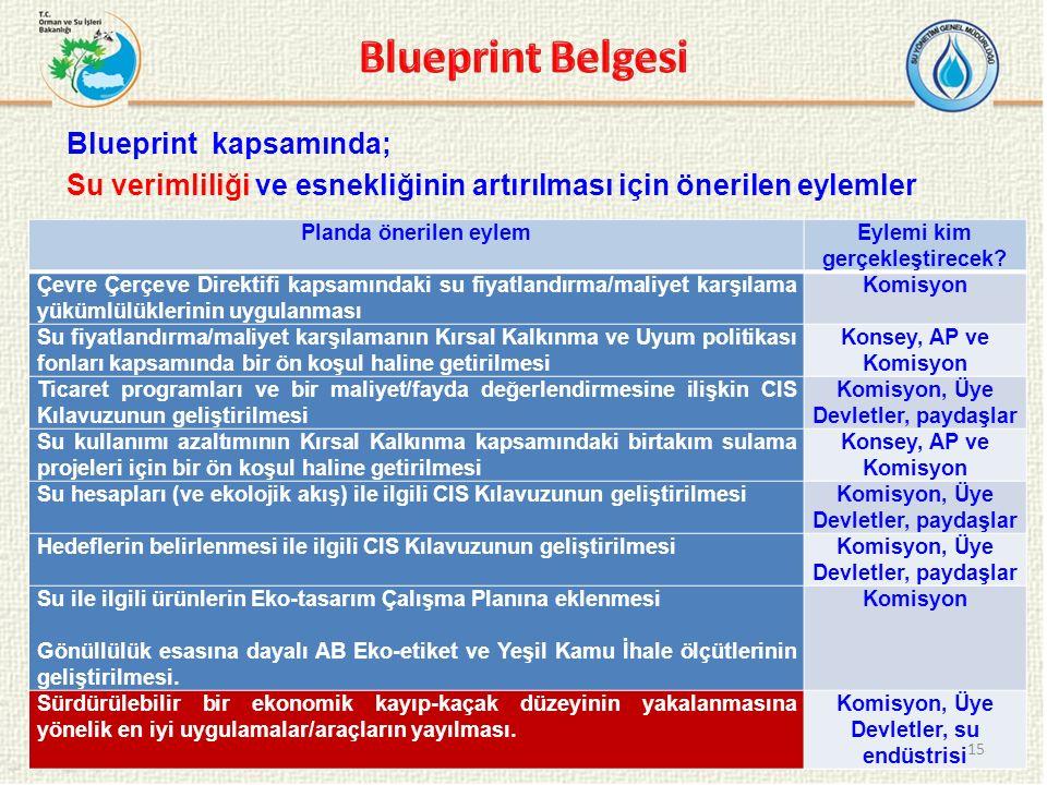 Blueprint Belgesi Blueprint kapsamında; Su verimliliği ve esnekliğinin artırılması için önerilen eylemler
