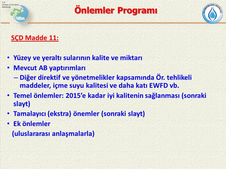 Önlemler Programı SÇD Madde 11: