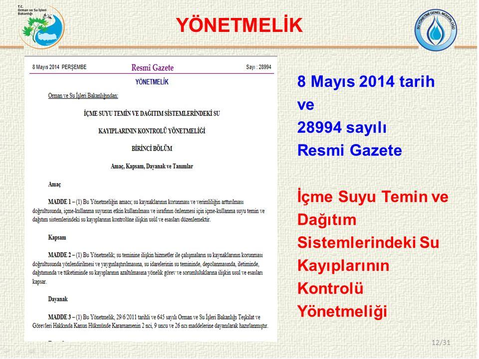 YÖNETMELİK 8 Mayıs 2014 tarih ve 28994 sayılı Resmi Gazete