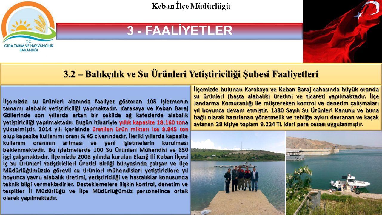 3.2 – Balıkçılık ve Su Ürünleri Yetiştiriciliği Şubesi Faaliyetleri