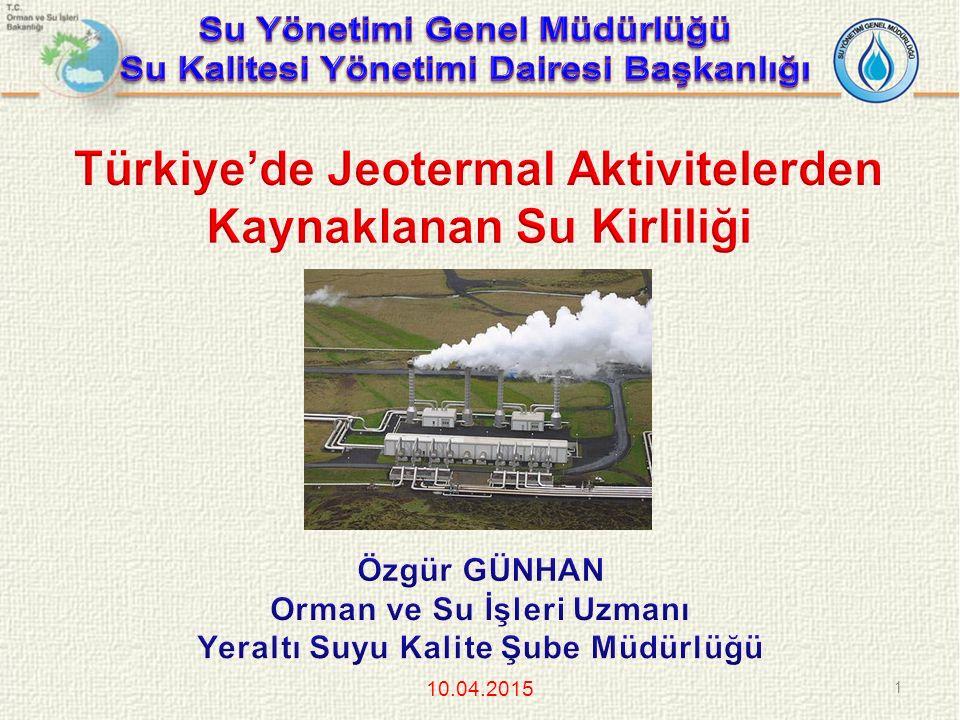 Türkiye'de Jeotermal Aktivitelerden Kaynaklanan Su Kirliliği