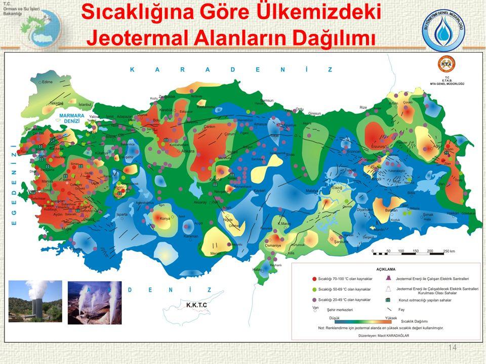 Sıcaklığına Göre Ülkemizdeki Jeotermal Alanların Dağılımı