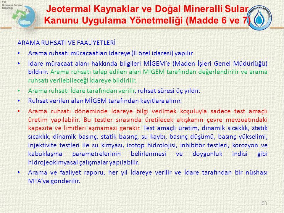 Jeotermal Kaynaklar ve Doğal Mineralli Sular Kanunu Uygulama Yönetmeliği (Madde 6 ve 7)