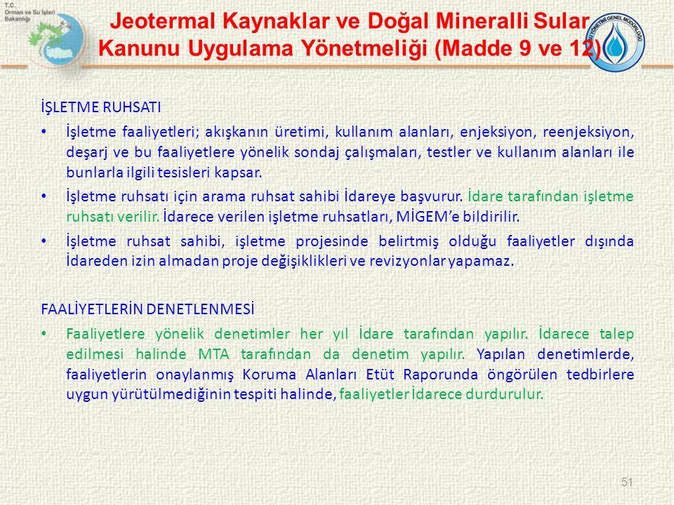 Jeotermal Kaynaklar ve Doğal Mineralli Sular Kanunu Uygulama Yönetmeliği (Madde 9 ve 12)