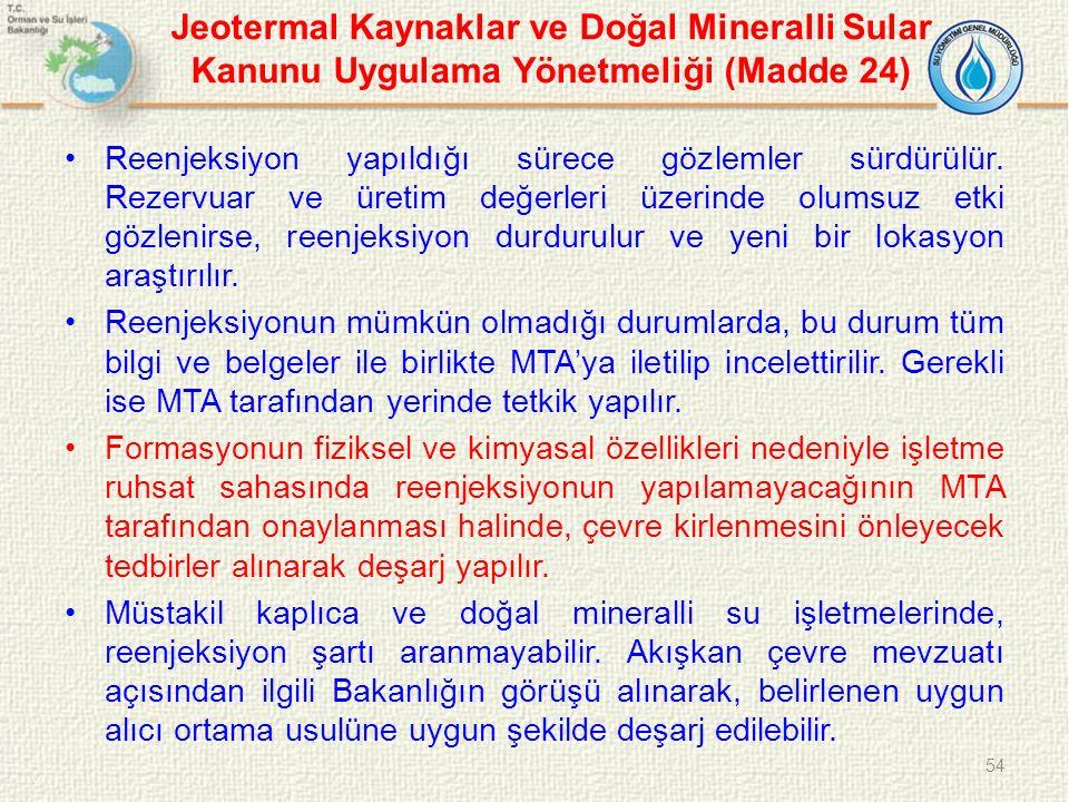 Jeotermal Kaynaklar ve Doğal Mineralli Sular Kanunu Uygulama Yönetmeliği (Madde 24)