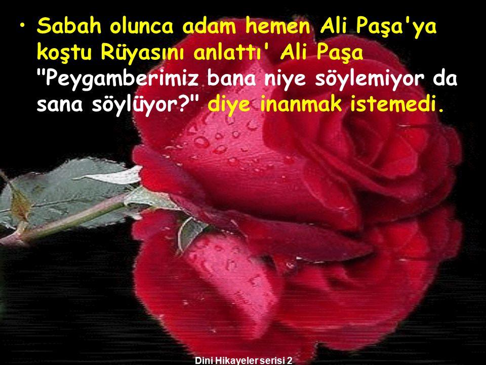 Sabah olunca adam hemen Ali Paşa ya koştu Rüyasını anlattı Ali Paşa Peygamberimiz bana niye söylemiyor da sana söylüyor diye inanmak istemedi.
