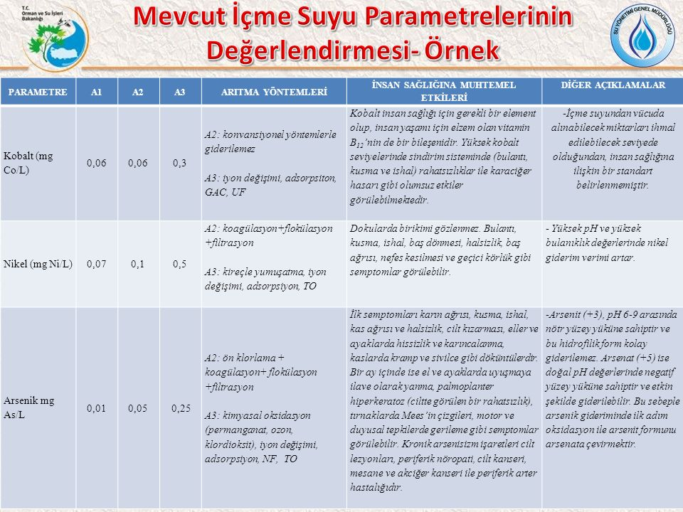 Mevcut İçme Suyu Parametrelerinin Değerlendirmesi- Örnek