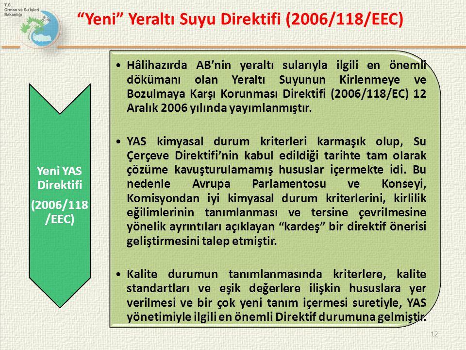 Yeni Yeraltı Suyu Direktifi (2006/118/EEC)