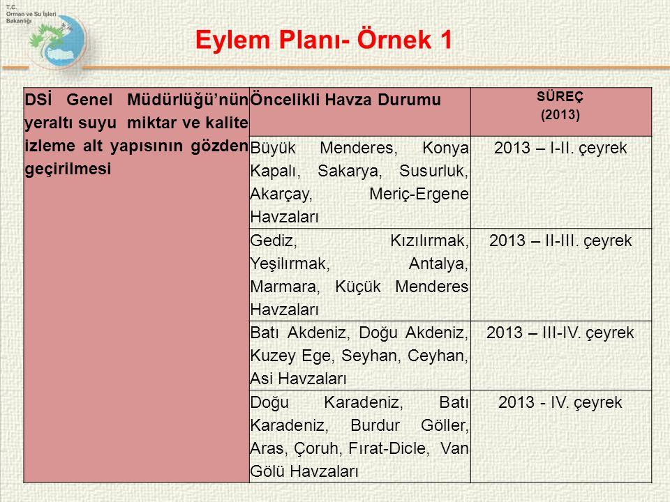 Eylem Planı- Örnek 1 DSİ Genel Müdürlüğü'nün yeraltı suyu miktar ve kalite izleme alt yapısının gözden geçirilmesi.