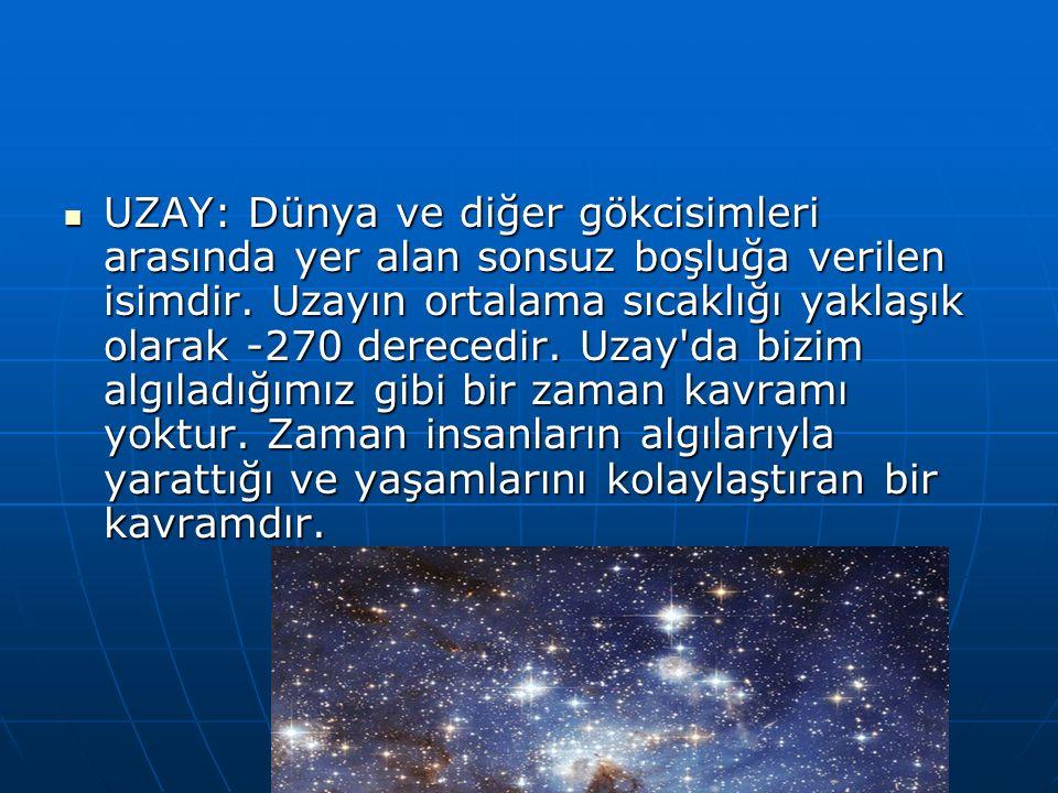 UZAY: Dünya ve diğer gökcisimleri arasında yer alan sonsuz boşluğa verilen isimdir.