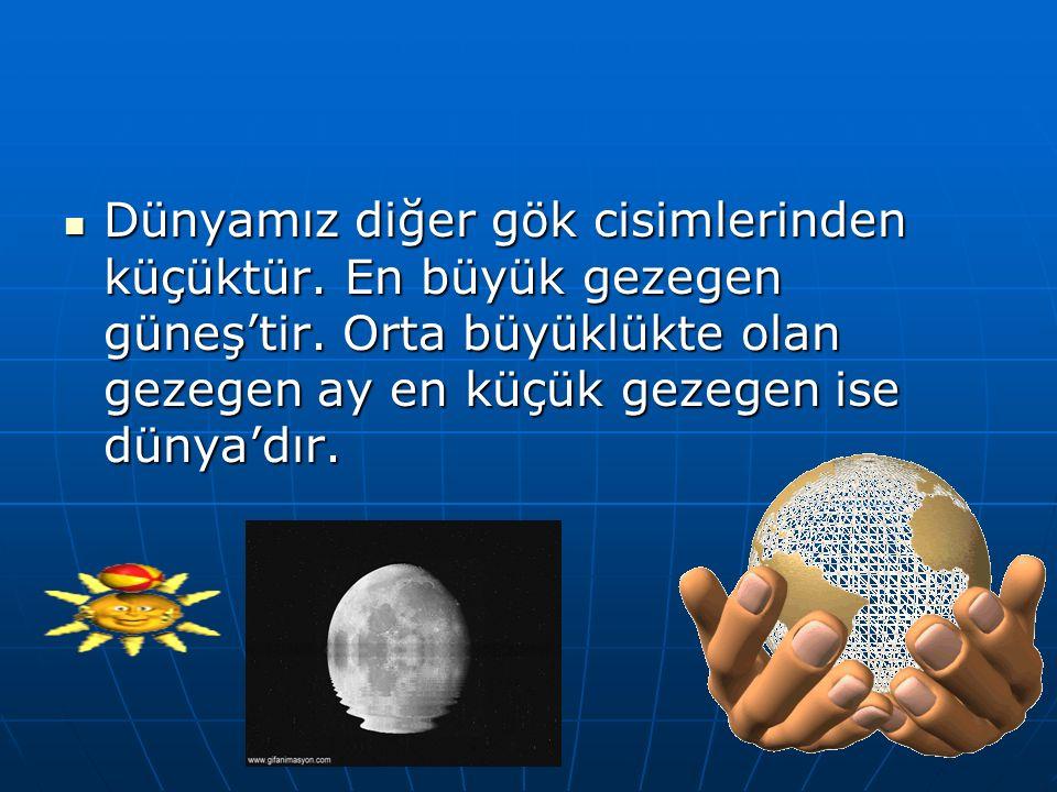 Dünyamız diğer gök cisimlerinden küçüktür. En büyük gezegen güneş'tir