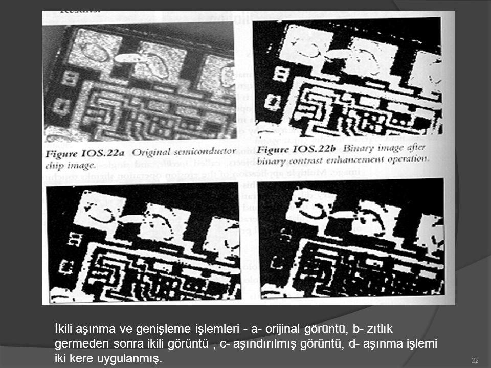 İkili aşınma ve genişleme işlemleri - a- orijinal görüntü, b- zıtlık germeden sonra ikili görüntü , c- aşındırılmış görüntü, d- aşınma işlemi iki kere uygulanmış.