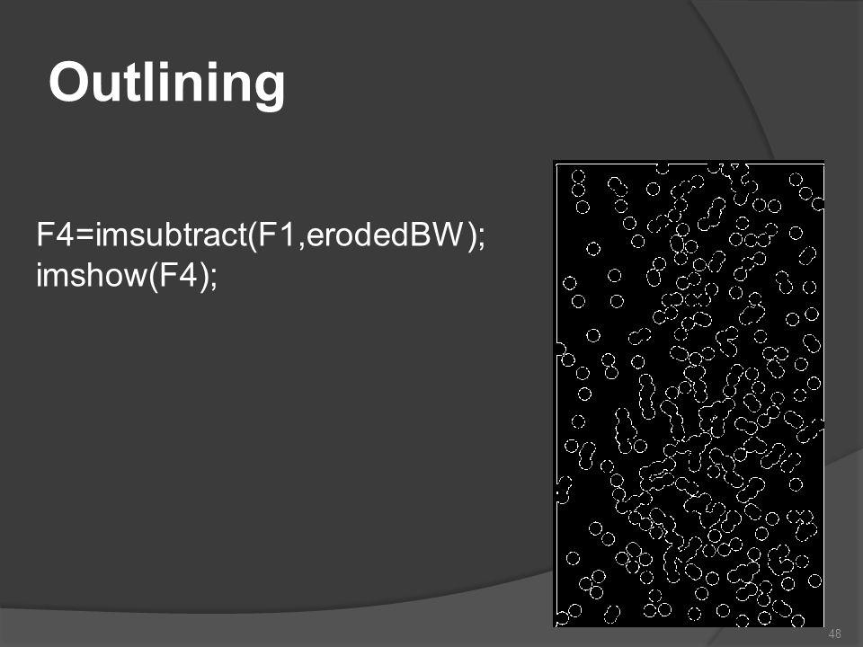 Outlining F4=imsubtract(F1,erodedBW); imshow(F4);