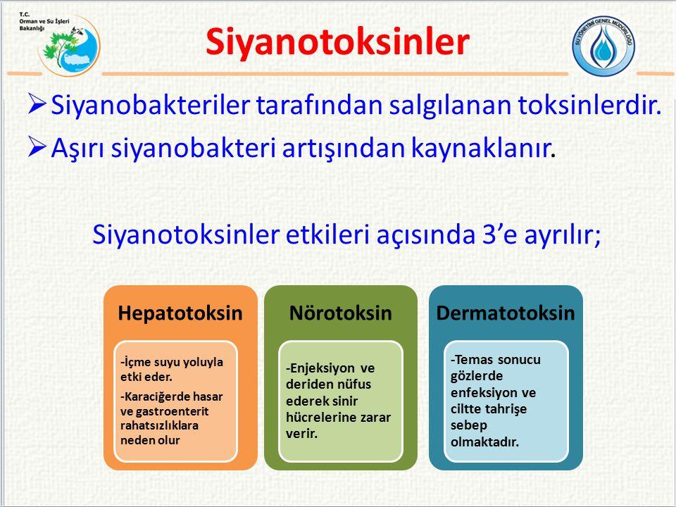 Siyanotoksinler etkileri açısında 3'e ayrılır;