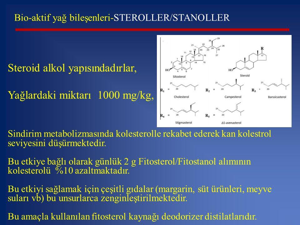 Steroid alkol yapısındadırlar, Yağlardaki miktarı 1000 mg/kg,