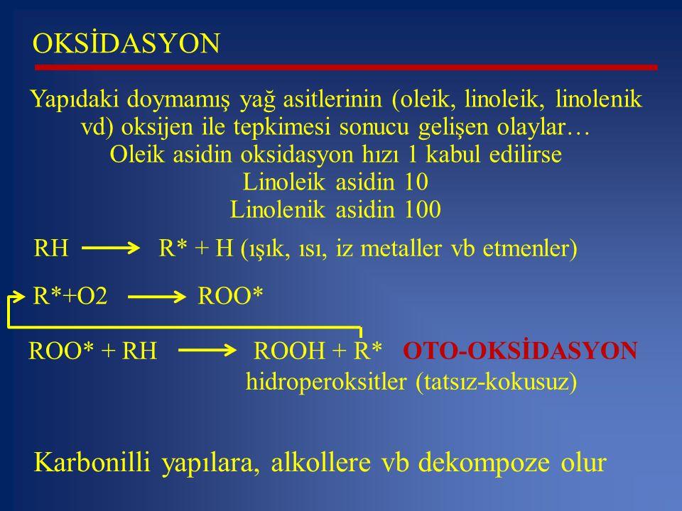 Oleik asidin oksidasyon hızı 1 kabul edilirse