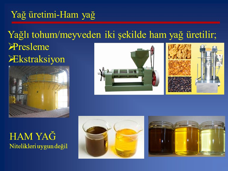 Yağlı tohum/meyveden iki şekilde ham yağ üretilir; Presleme
