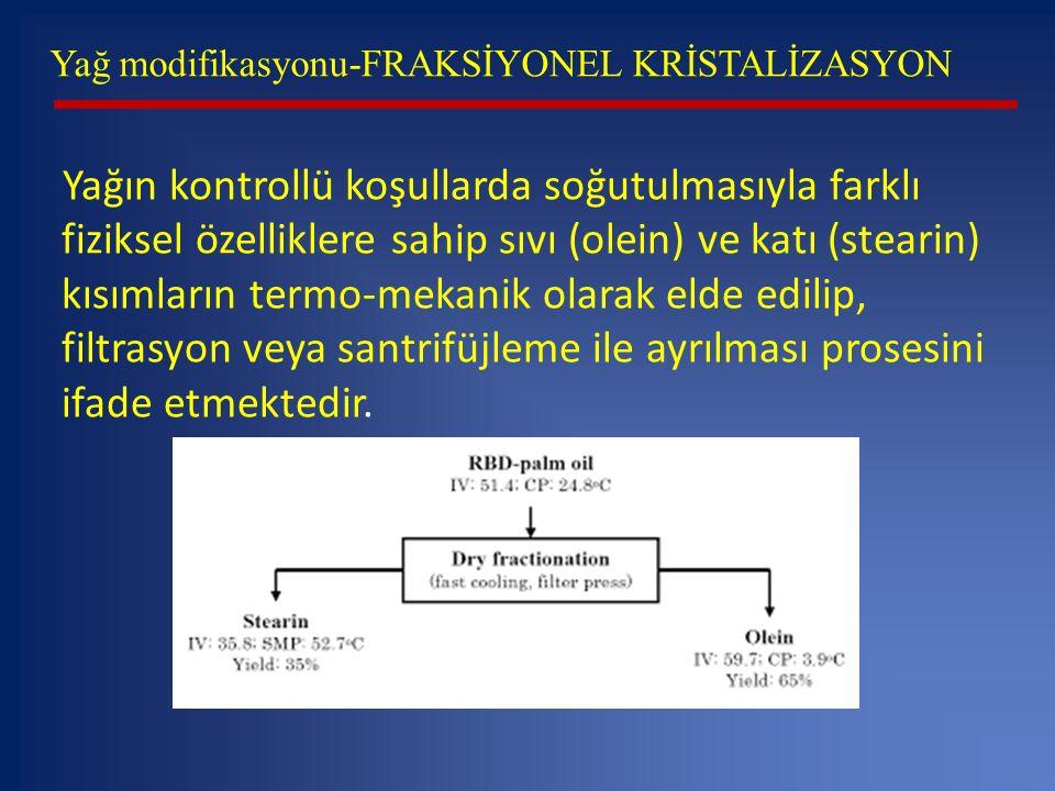 Yağ modifikasyonu-FRAKSİYONEL KRİSTALİZASYON