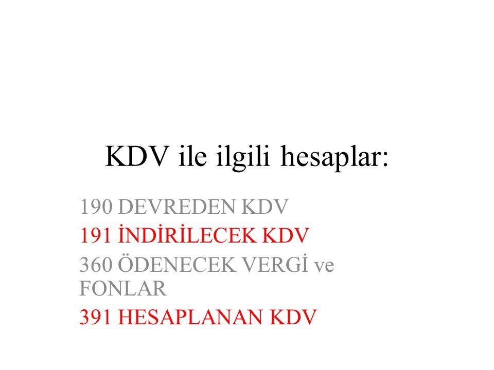 KDV ile ilgili hesaplar: