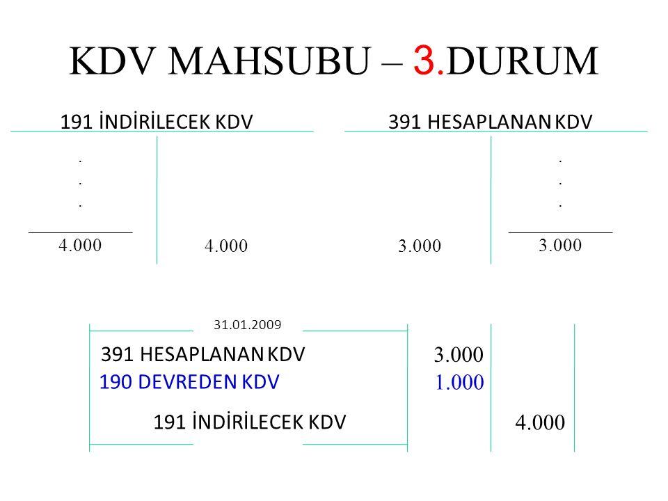 KDV MAHSUBU – 3.DURUM 191 İNDİRİLECEK KDV 391 HESAPLANAN KDV